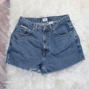 (370) VTG High Waisted Distressed Jean Shorts